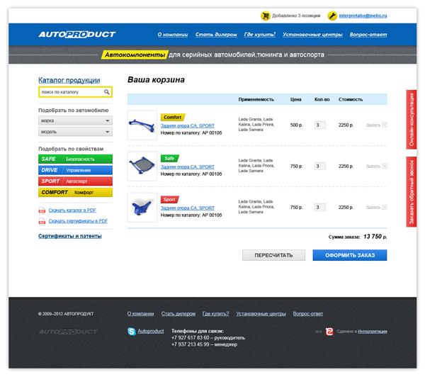 Корзина заказов на сайте компании «АВТОПРОДУКТ»