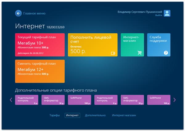 Внутренняя страница личного кабинета пользователя АИСТ