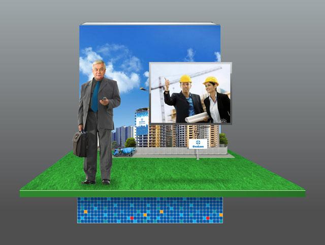 Смальта, пейзаж на стене, докладчик, информационное табло