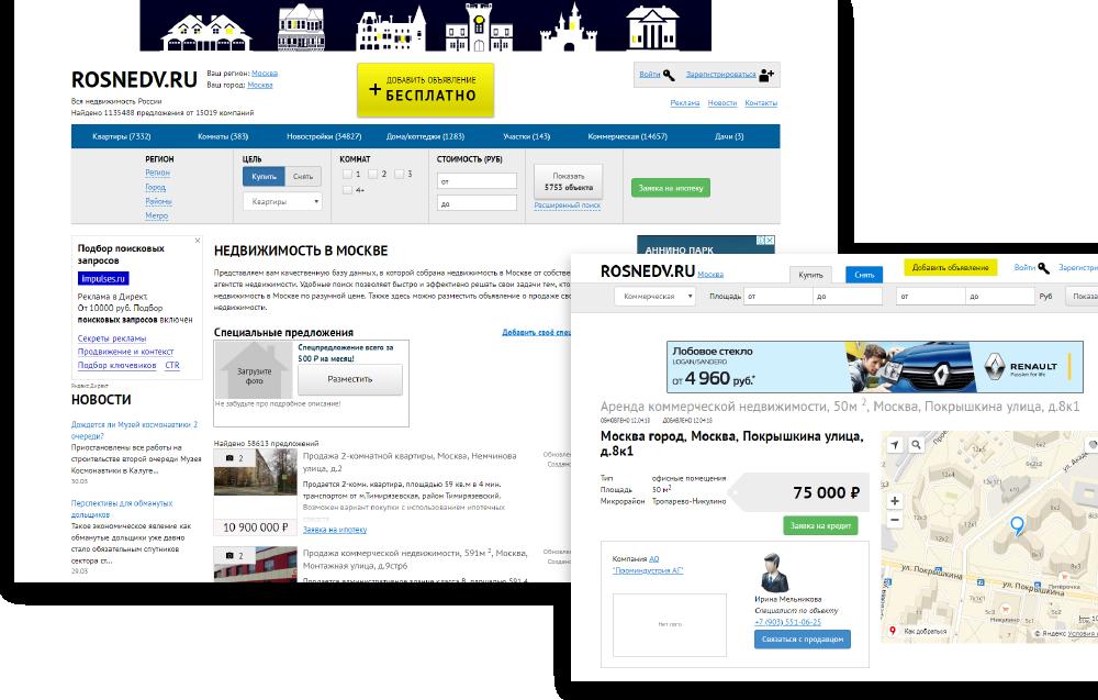 Внешний вид старой версии портала rosnedv.ru.