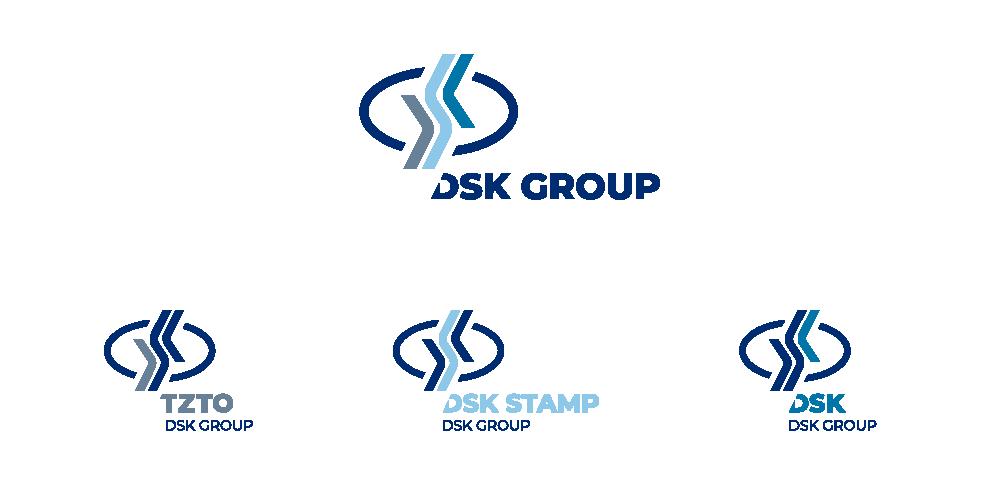 Логотип управляющей компании DSK GROUP и логотипы трех компаний, входящих в Холдинг.